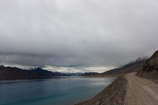 Grey skies over Pangong Lake